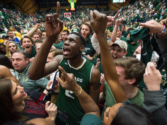 Colorado State University forward Emmanuel Omogbo celebrates 78-76 win over Wyoming at Moby Arena in Fort Collins in this Feb. 28, 2017, file photo. Coloradoan library
