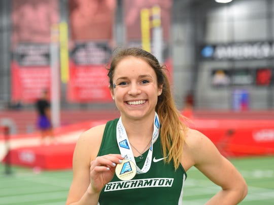 Binghamton University senior Sarah Haley won the women's pole vault at the America East Indoor Track & Field Championships held on February 24, 2017 at Boston University. Haley won her second career indoor pole vault title in a four-way jump off. Her winning height was 12-5 ½.
