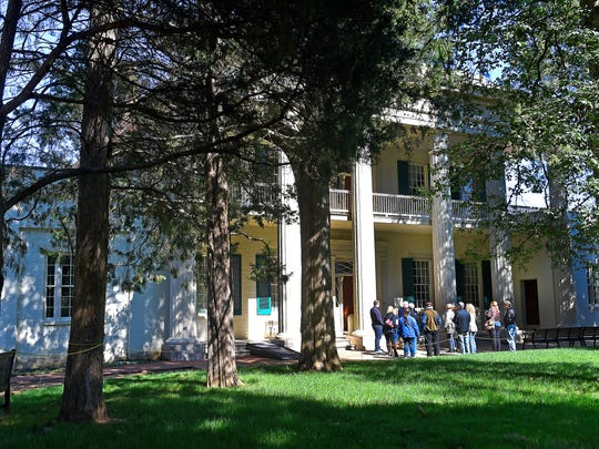 Visitors hear the history at the Hermitage, home of Andrew Jackson before entering for a tour.