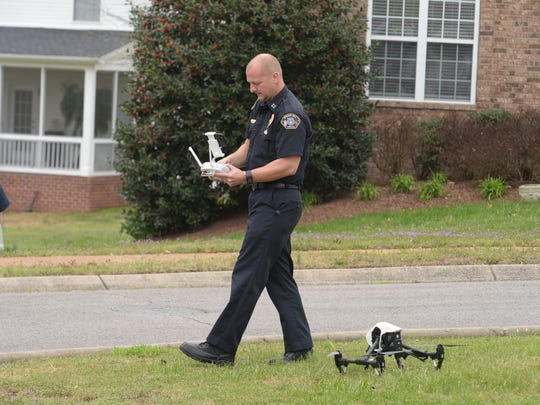 City of Spring Hill police on Monday, March 27, 2017, use a drone to investigate the scene where a teenager was killed Sunday in a car accident.