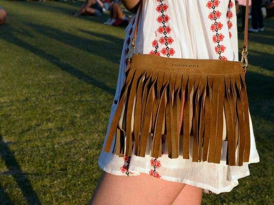 Isabella Charlotta Poppius, fashion detail, attends the 2016 Coachella Valley Music And Arts Festival Weekend at the Empire Polo Club on April 17, 2016 in Indio.