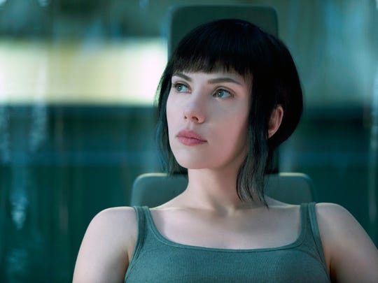 "Scarlett Johansson in a scene from ""Ghost in the Shell."""