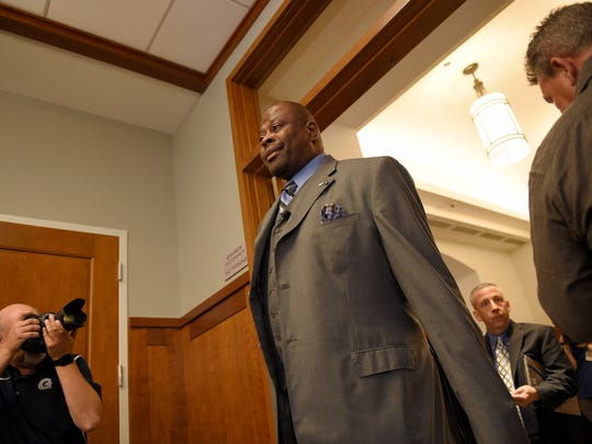 Georgetown's new men's basketball head coach Patrick Ewing arrives at an NCAA college basketball press conference to formally announce his hiring, Wednesday, April 5, 2017, in Washington.