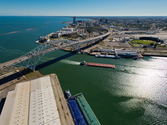 Photo showing the Port of Corpus Christi, Harbor Bridge and the SEA District.