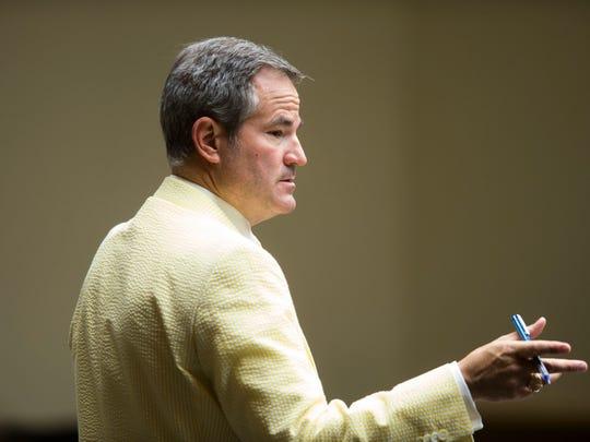 Defense Attorney T. Scott Jones stands in court during