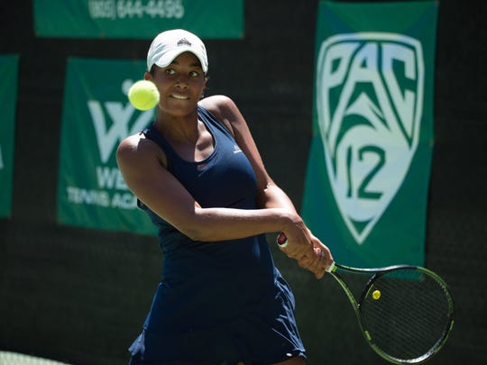 Salma Ewing eyes a backhand during her victory in the Women's Open final Sunday at The Ojai,