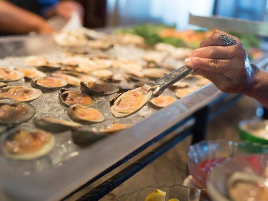 The raw bar at Rooney's Oceanfront Restaurant in Long Branch.