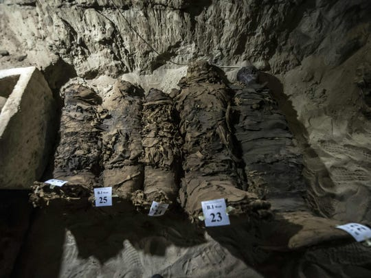 Mummies in catacombs following their discovery in the