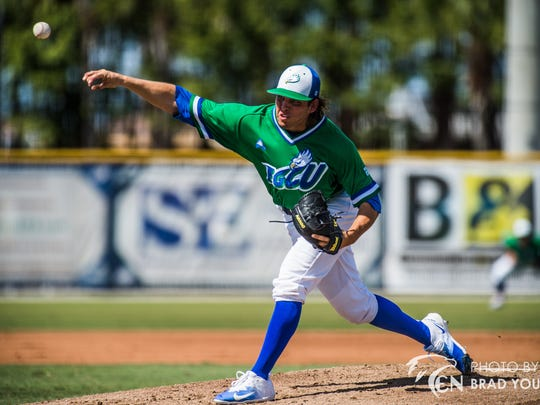 Florida Gulf Coast University pitcher Kutter Crawford, shown earlier in the season, has become the Eagles' ace with a 7-1 record.