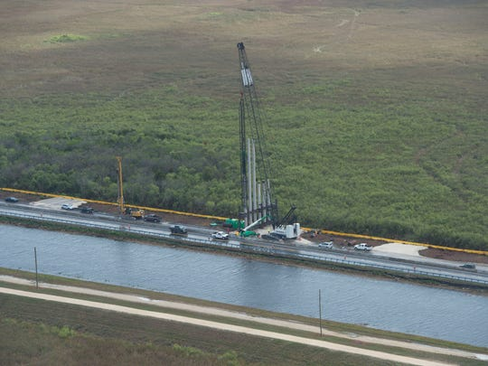 Construction on the Tamiami Trail one-mile bridge is
