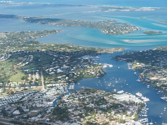 An aerial image shows Manatee Pocket in Port Salerno, the St. Lucie River, the Indian River Lagoon, Hutchinson Island and the Atlantic Ocean in Martin County.