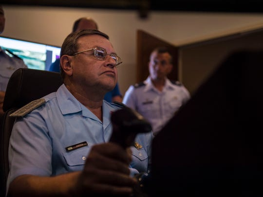 Brig. Gen. Enrique Amrein, Argentine air force chief of staff, operates an MQ-9 Reaper simulator at Holloman Air Force Base, N.M., July 20, 2017. While at Holloman, Amrein learned about the remotely piloted aircraft training program and what pilots, sensor operators and maintainers experience during their time here.