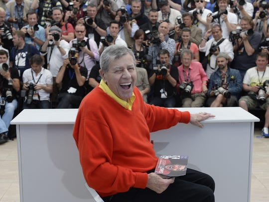 Jerry Lewis yuks it up at Cannes Film Festival in 2013.