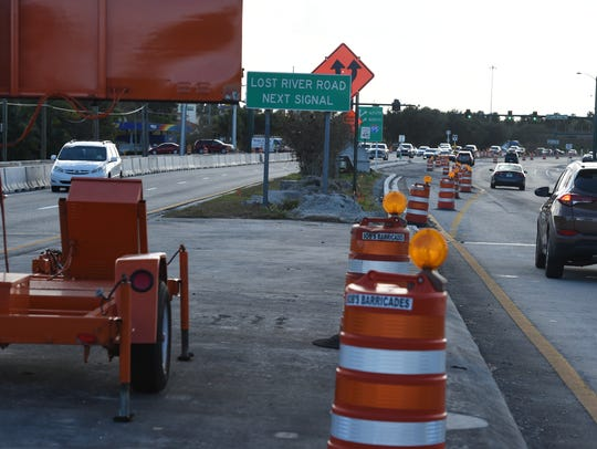This photograph shows construction on Kanner Highway