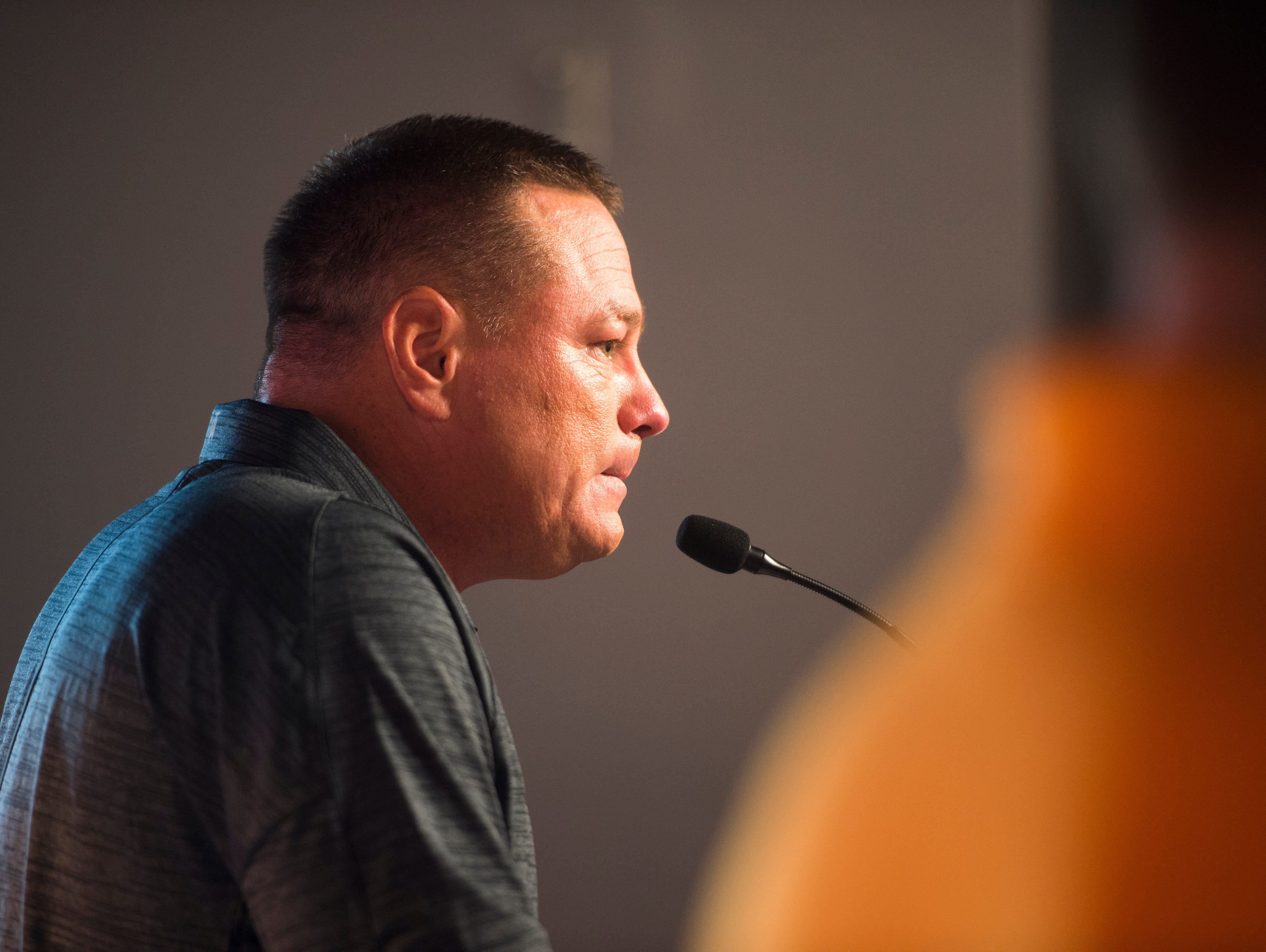 Vols coach Butch Jones speaks to the media during a press conference Wednesday, Aug. 30, 2017, in the Ray and Lucy Hand digital studio at the University of Tennessee.