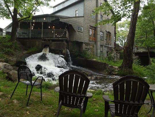 A lounging area just below Char 1788, the restaurant at Tuthilltown Spirits in Gardiner.