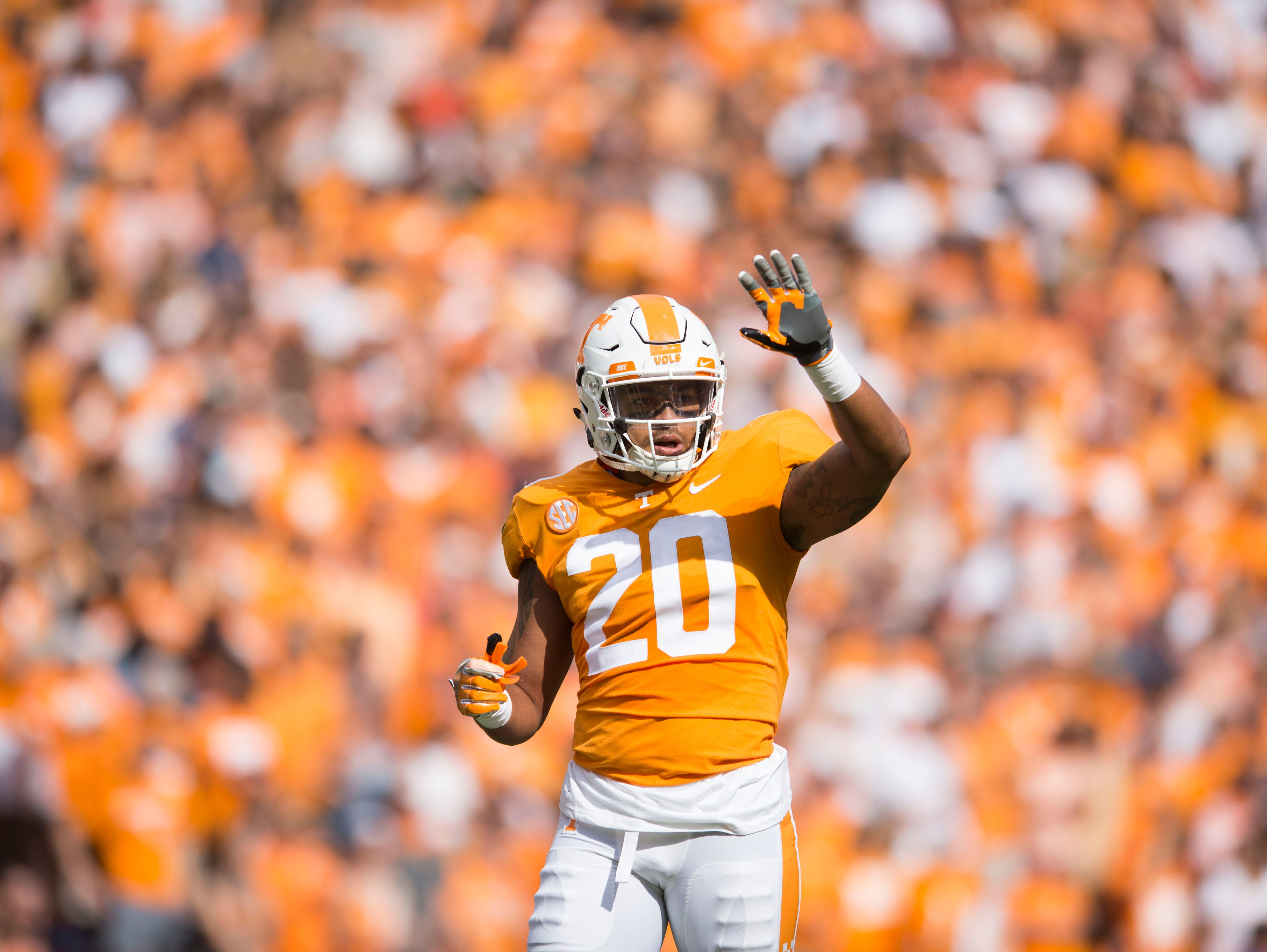 Tennessee linebacker Cortez McDowell (20) raises a hand during the Tennessee Volunteers vs. Indiana State Sycamores game at Neyland Stadium in Knoxville, Tenn. Saturday, Sept. 9, 2017.