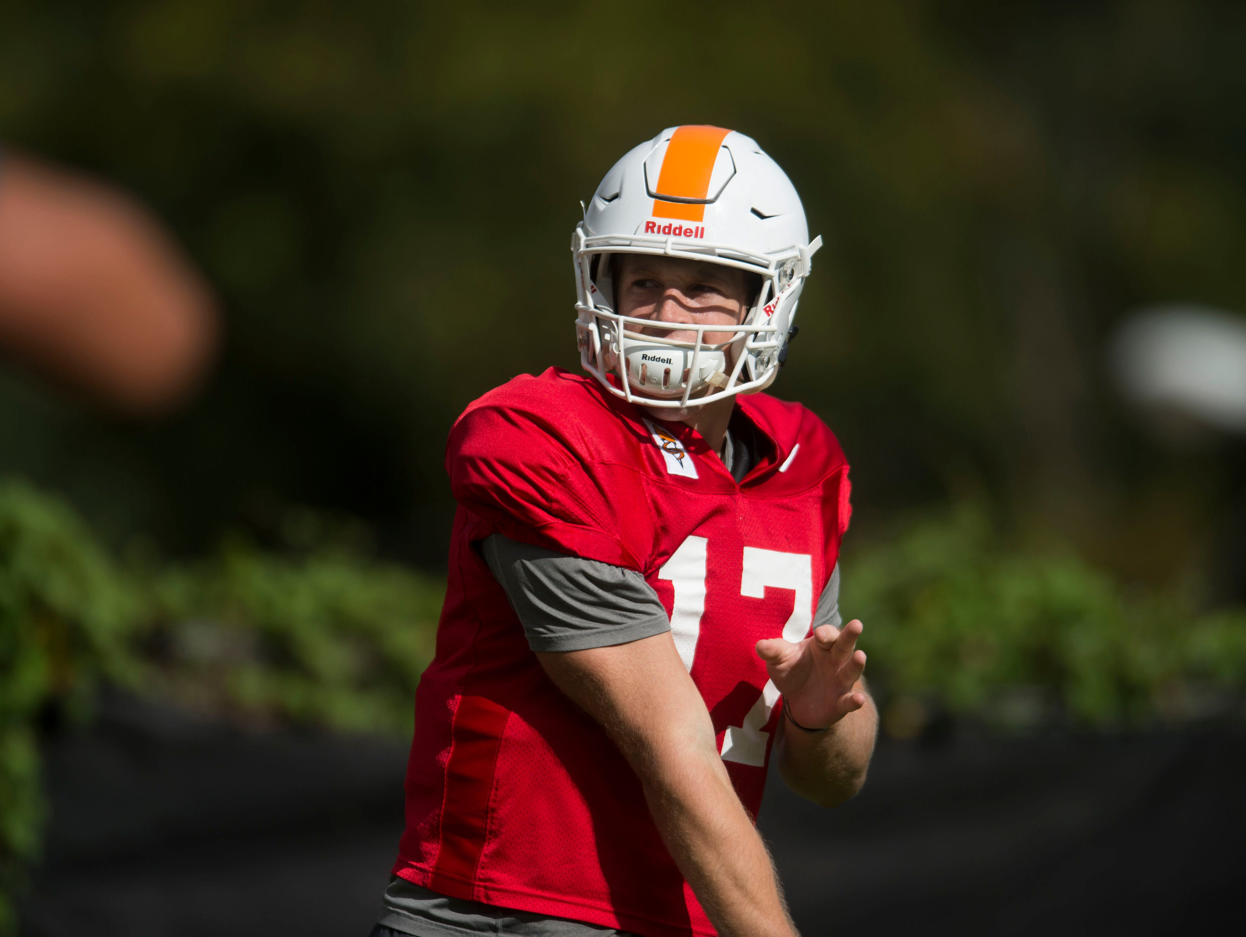 Tennessee quarterback Will McBride (17) throws the ball during University of Tennessee fall football practice at Anderson Training Facility in Knoxville, Tenn. on Tuesday, Sept. 12, 2017.