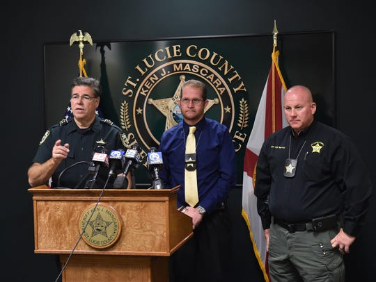 St. Lucie County Sheriff Ken Mascara (from left) and