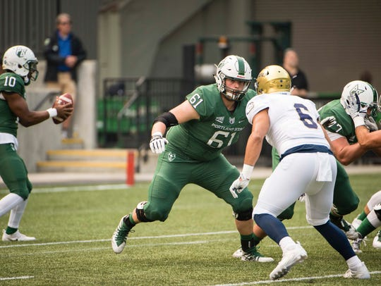 Portland State tackle Justin Outslay (61), a graduate
