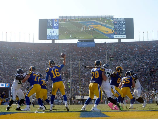 Los Angeles Rams quarterback Jared Goff (16) throws against the Seattle Seahawks during the second half at the Los Angeles Memorial Coliseum.