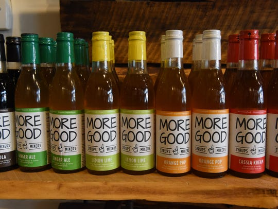 A view of More Good's syrups in their store in Beacon.