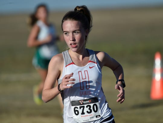 Holliday's Leah Bullinger won the 8-3A Meet Thursday