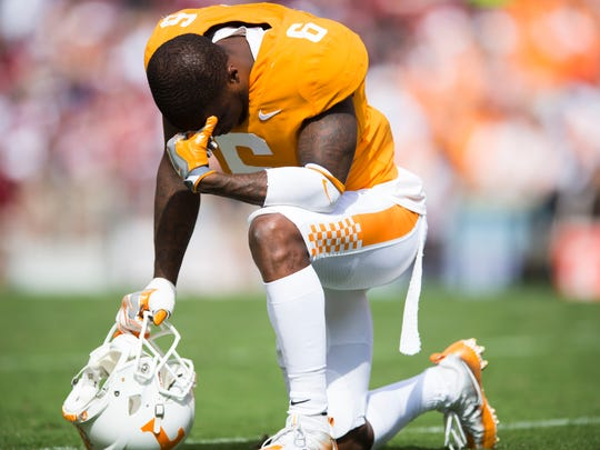 Tennessee defensive back Shaq Wiggins (6) takes a knee during a Tennessee vs. South Carolina game at Neyland Stadium in Knoxville, Tenn. Saturday, Oct. 14, 2017.