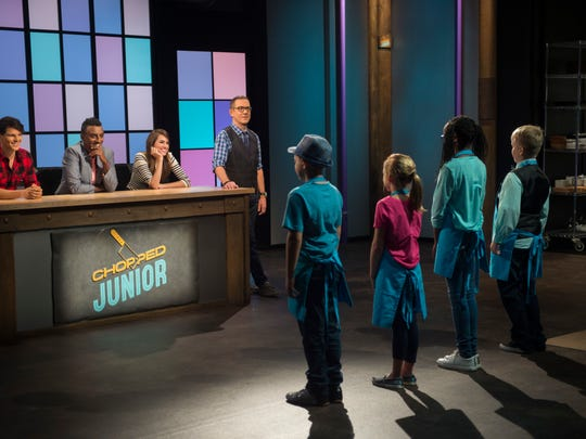 Host Ted Allen with guest judges Daniel Churchill, Marcus Samuelson, and Allison Williams on Food Network's 'Chopped Junior.""