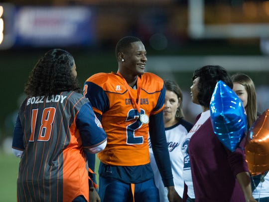 Malik Heath smiles during the senior recognition prior to the Vicksburg vs Callaway football game at Newell Field in Jackson,MS  on October 26, 2017