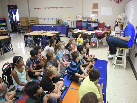 Gina Morgan talks with her second-grade class on the first day of school at Liberty Elementary in 2016. Liberty is one of 70 schools selected by the Tennessee Department of Education to participate in its Trauma-Informed School Initiative earlier this month in Lebanon.