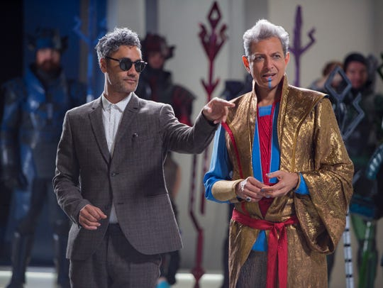 On set with director Taika Waititi and Jeff Goldblum,
