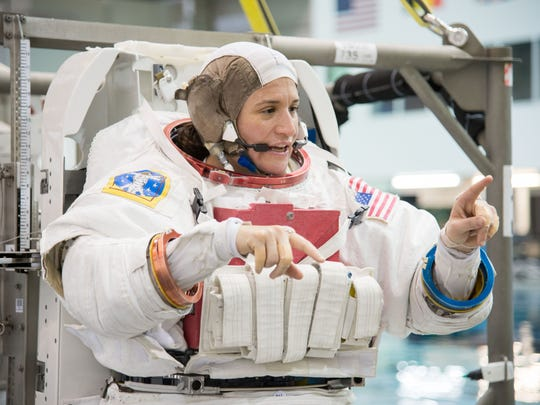 NASA astronaut Dr. Serena Auñón-Chancellor awaits the start of a spacewalk training session near NASA's Johnson Space Center in this 2012 photo.
