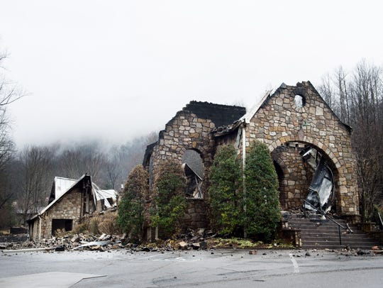 The remains of Roaring Fork Baptist Church, Tuesday,