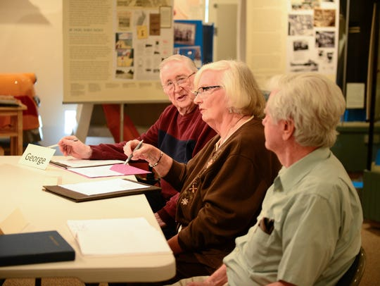 From left, George Winkler, Mary Ellen Winkler and Ed Wright attend a memoir-writing course taught by Rae Tyson.