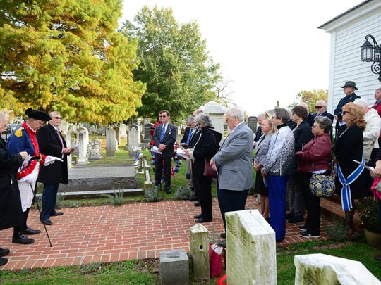 The Delaware Society, Sons of the American Revolution, Caesar Rodney Chapter held a Patriot grave marking and memorial service for local Revolutionary War patriots on Saturday, Nov. 4, 2017 at the Lewes Presbyterian Cemetery in Lewes, Del.
