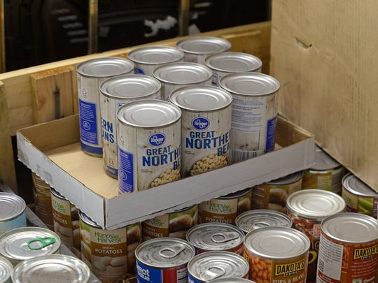 Canned food donated by Reid Health awaits distribution at the Gateway Hunger Relief Center on Sheridan Street in Richmond.
