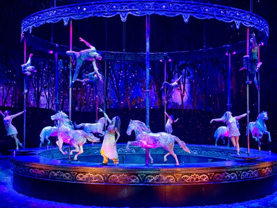 "Cavalia's ""Odysseo"" set features a full-size carousel."