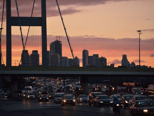 Traffic on the Bosfo bridge in Istanbul, on July 20,