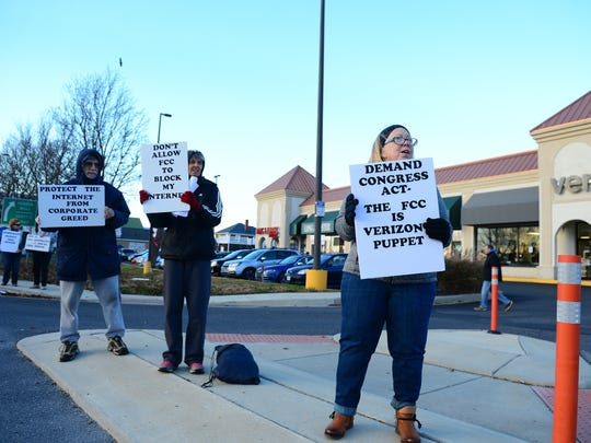 Residents from Delaware came out to protest the Federal Communications Commission vote scheduled for next week could change the way Delmarva residents, and the nation, use the internet on Thursday, Dec. 7, 2017.