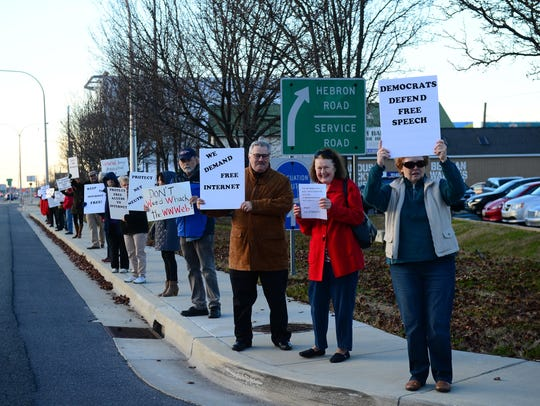 Over 30 people from around Delaware came out to protest
