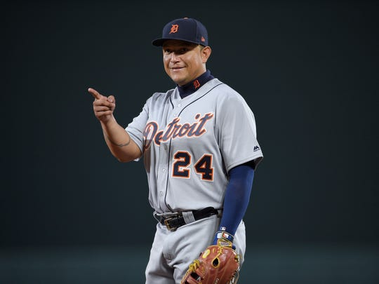 Detroit Tigers first baseman Miguel Cabrera gestures during the seventh inning of a baseball game against the Baltimore Orioles, Saturday, Aug. 5, 2017, in Baltimore.