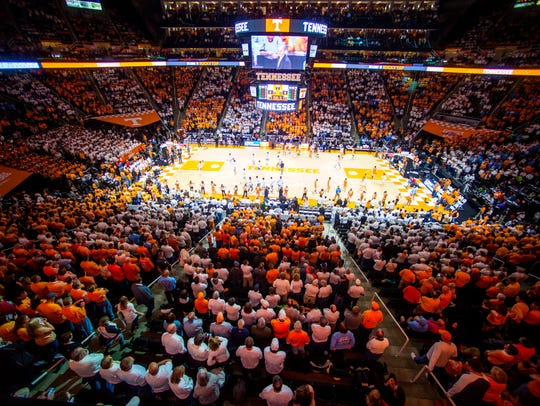 Checker Thompson-Boling Arena before Tennessee's home
