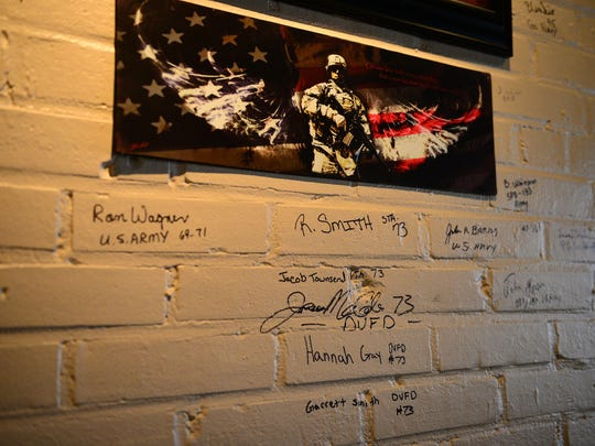 The valor wall is still at beginning stages, but it is now holding displays a few signatures from those currently serving in the military, veterans, firefighters, police officers and other public service workers.