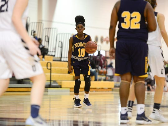 Pocomoke's Ajah Kellam sets up the offense against Urbana during the Governor's Challenge in Princess Anne, Md.