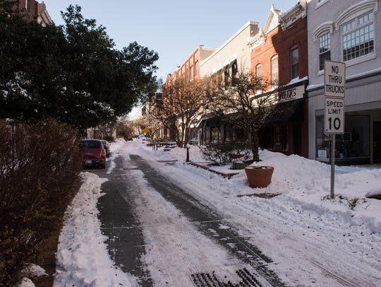 A view of West Main Street after a snowstorm on Friday,