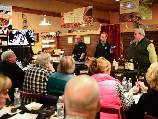 Blackwall Hitch Executive Chef Chip Miller, General Manager Zach Diogo and bartender Patrick Hurley give a presentation during the Taste & Learn Chef Series in Rehoboth Beach on Monday.
