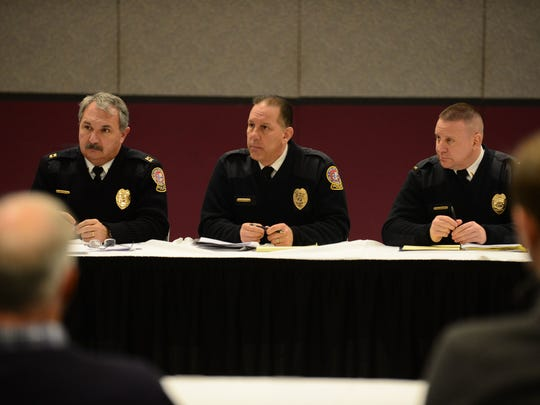 Ocean City Police Chief Ross Buzzuro (center) listens as the Motor Event Task Force meets at the Roland E. Powell Convention Center on Wednesday, Jan. 17, 2018.