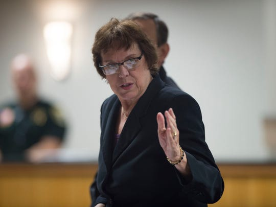 Attorney Ginny Sherlock is representing Maggy Hurchalla in a civil trial against Lake Point Restoration, seen Monday, Feb. 5, 2018 at the Martin County Courthouse in Stuart.