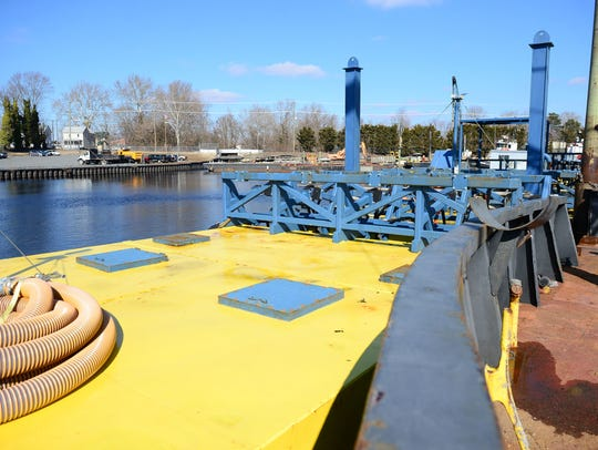 Murtech's articulating wave energy conversion system, or AWECS, sits on the Wicomico River in Salisbury, Md. on Thursday, Feb. 8, 2018. The system will use wave energy to power a desalination system to convert saltwater to fresh water.